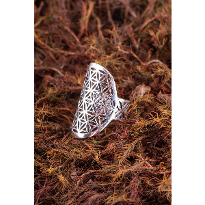 "Ring ""Blume des Lebens"", versilbert, Produktbild 1"