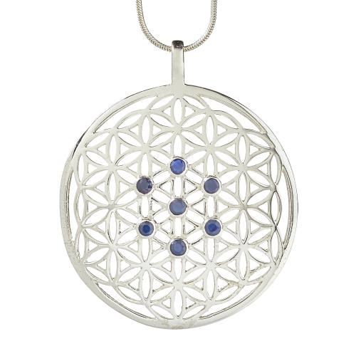 """Anhänger """"Blume des Lebens"""" mit blauen Saphiren, Produktbild 1"""
