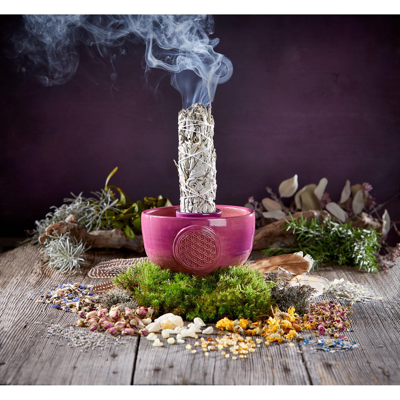 """Räucherschale für weißen Salbei """"Blume des Lebens"""", Produktbild 3"""
