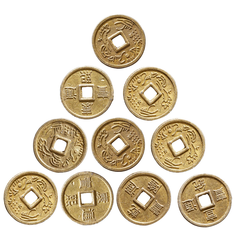 Chinesische Glücksmünzen, 10er Set, Produktbild 1