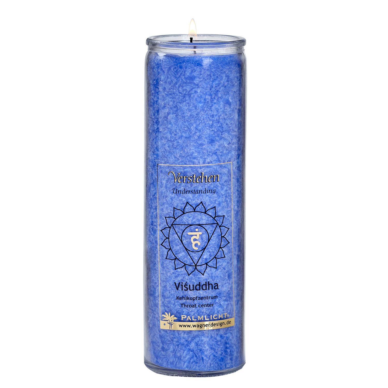 Kerze Visuddha - Hals-Chakra - blau, Produktbild 1