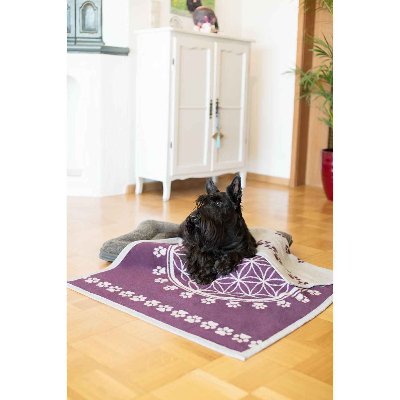 """Haustier-Decke """"Blume des Lebens"""", Violett/Hellgrau, Produktbild 3"""