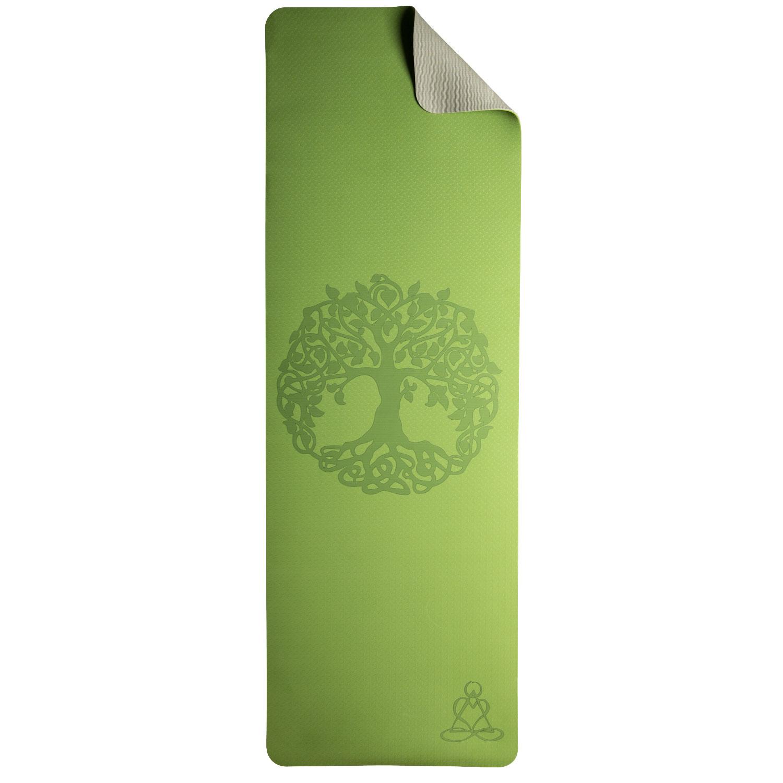 """Yogamatte """"Lebensbaum"""", Hellgrün/Grau, Produktbild 1"""